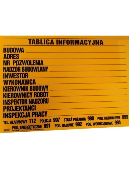 TABLICA BUDOWLANA INFORMACYJNA Z NADRUKIEM 500x700