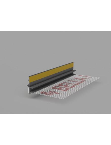 LISTWA DYLATACYJNA PRZYOKIENNA SZARY CIEMNY 3mm Z SIATKĄ BELLA PLAST 2,5m
