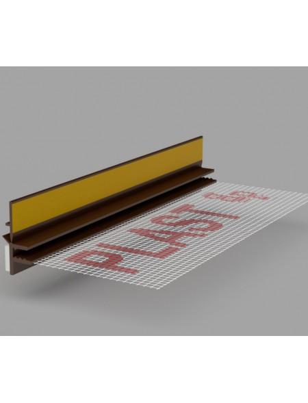 LISTWA DYLATACYJNA PRZYOKIENNA CIEMNY ORZECH 3mm Z SIATKĄ BELLA PLAST 3m